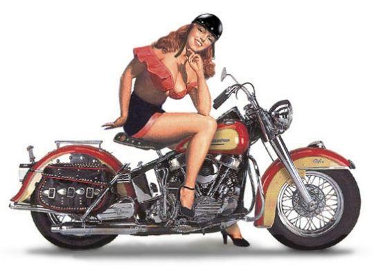 Pin-Up : Девушка на мотоцикле