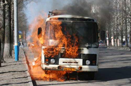 Как горит автобус