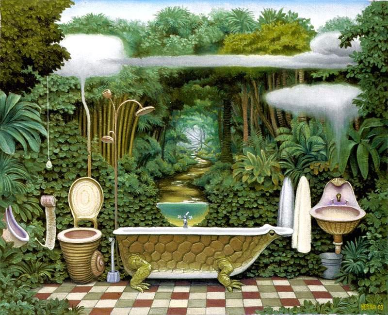Удивительное место - ванная комната - практически целый мир.. с шумом дождя или водопада, с ливнями и брызгами...