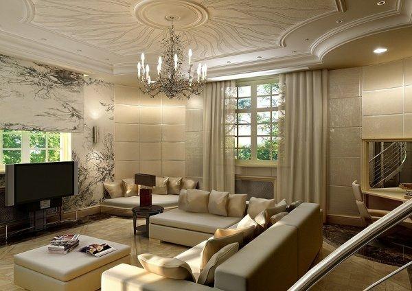 Коттедж 18 проект дизайна гостиной в