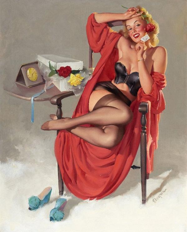 рисунок девушка в чулках рисунок