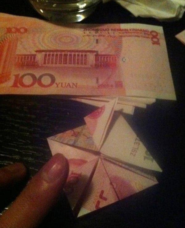 Валентинка из денег