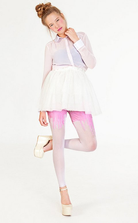 Multitone Bubblegum Melting Tights
