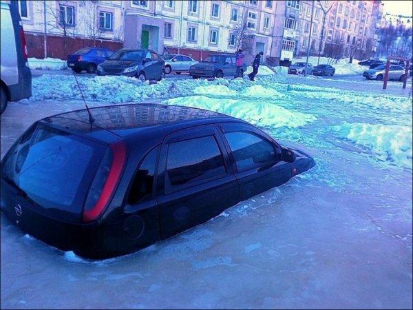 Машина вмерзла