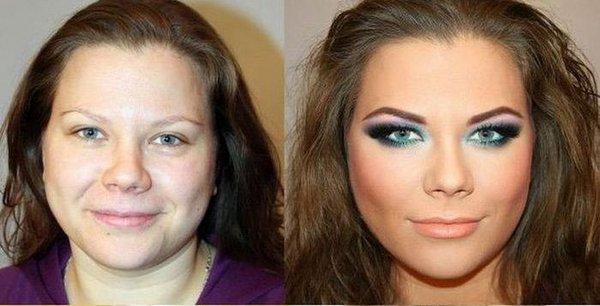 До и после макияжа