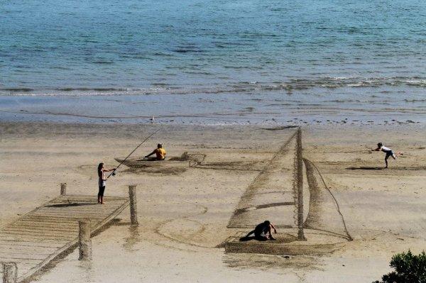 Объемные рисунки на песке