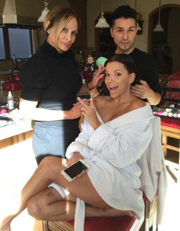 Eva Longoria с макияжем и без