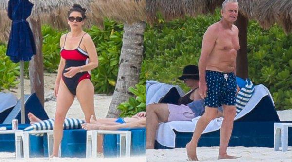 Катерина Зета-Джонс и Майкл Дуглас на пляже